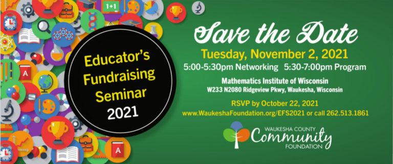2021 Educators Fundraising Seminar flyer
